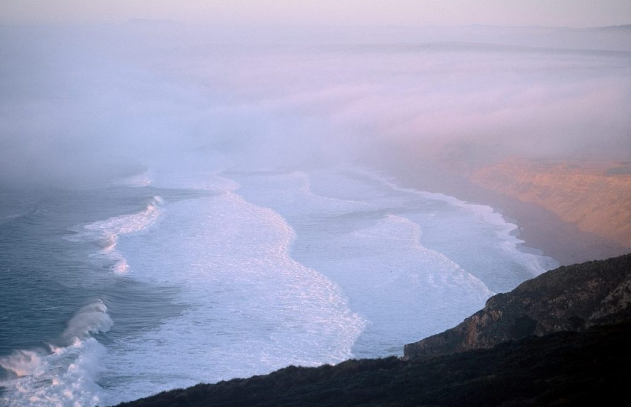 vagues californie brume